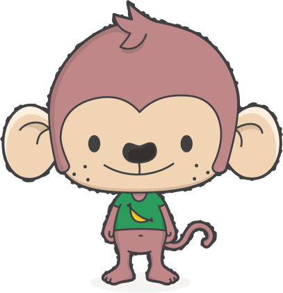cartoon monkey with banana tshirt