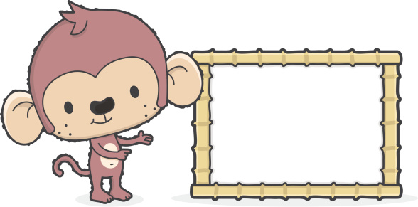 cartoon monkey with blank sign for your text