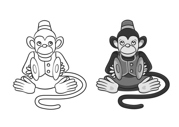 cartoon monkey with cymbals.in two variants:grayscale and only contour. can be used for coloring books. - talerz perkusyjny stock illustrations