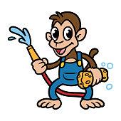 Cartoon Monkey With Hose and Sponge