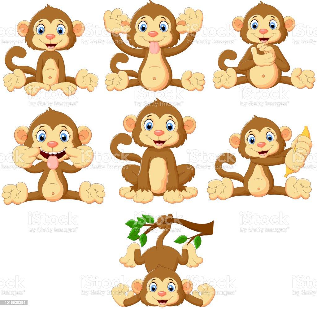 Cartoon Monkeys Collection Set Stock Illustration Download Image Now Istock
