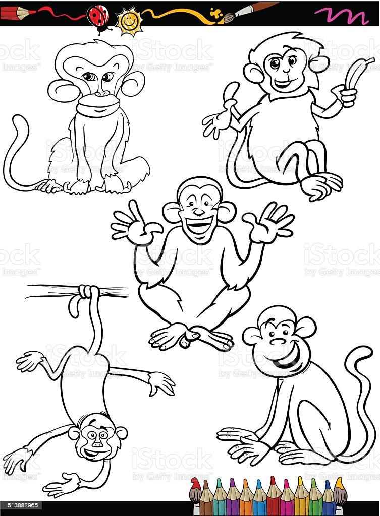 Ilustración de Mono De Historieta Libro Para Colorear y más banco de ...