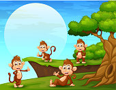 Cartoon monkeys playing near the cliff