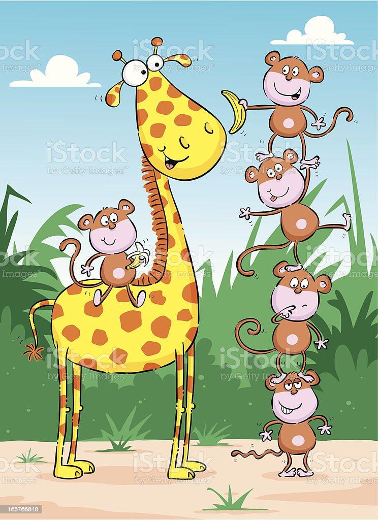 Cartoon monkeys with a giraffe royalty-free stock vector art