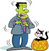 Cartoon monster being scared by a cat in a pumpkin.