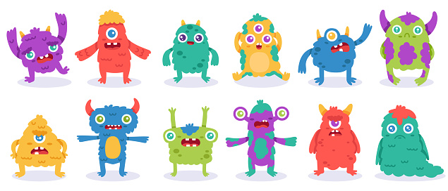 Cartoon monster characters. Halloween funny monsters, cute fluffy alien mascots, silly gremlin monsters, spooky creatures vector illustration set