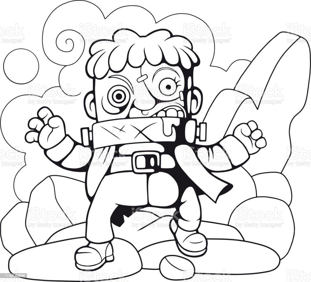 Karikatur Canavar Boyama Kitabi Komik Illustrasyon Stok Vektor