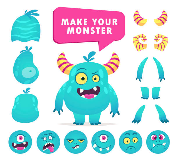 ilustrações, clipart, desenhos animados e ícones de jogo da criação do monstro dos desenhos animados, jogo bonito da face - landscape creation kit