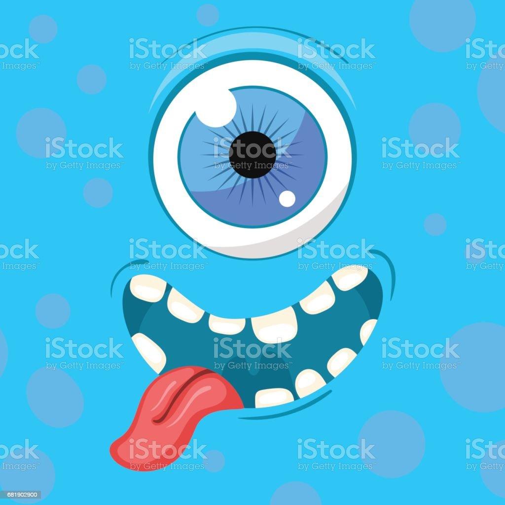 Cartoon monster face. Vector Halloween blue smiling fairy tale avatar. Vector illustration vector art illustration