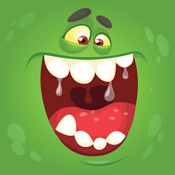 cartoon monster face. vector halloween green monster avatar - maul stock-grafiken, -clipart, -cartoons und -symbole