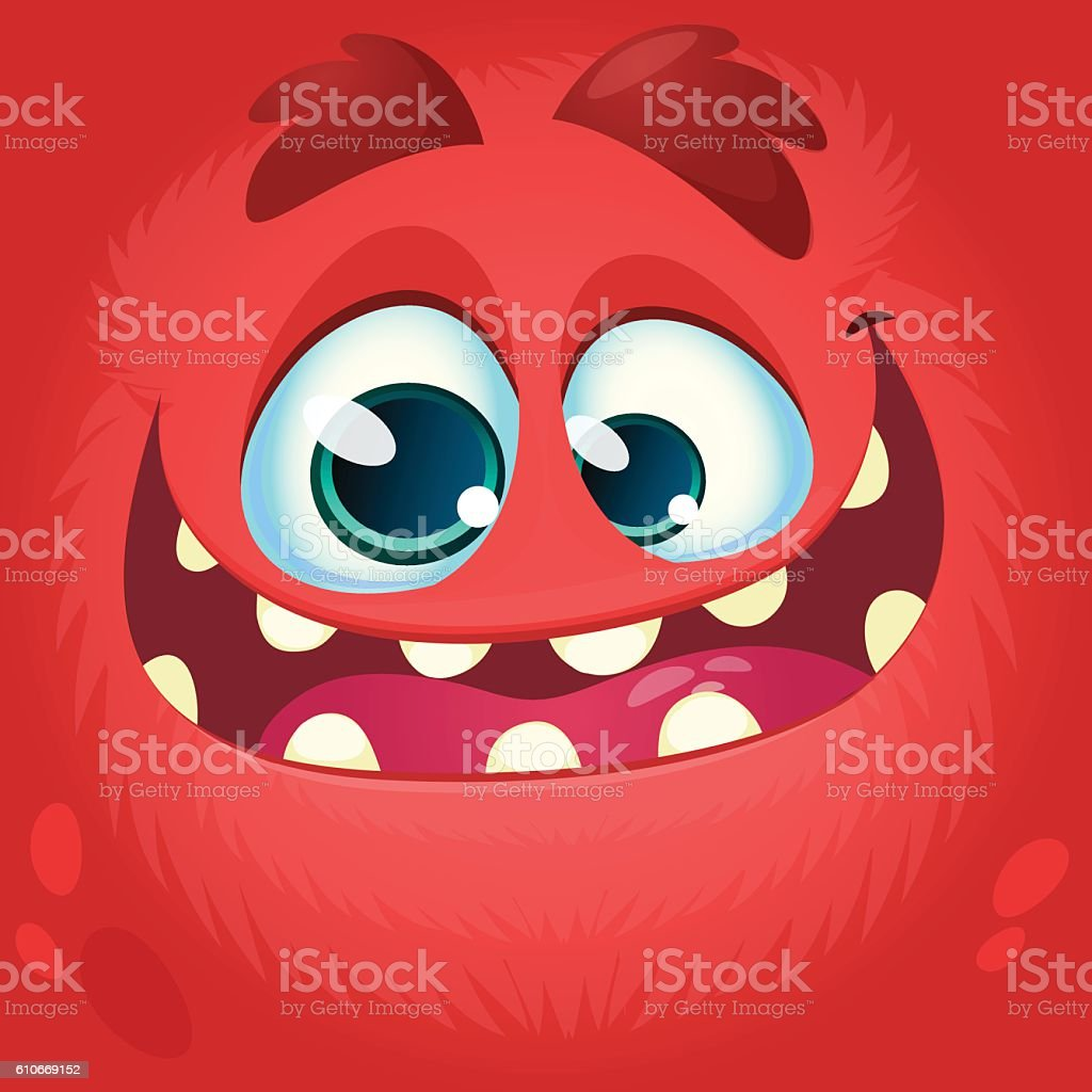 Cartoon monster face. Vector Halloween red monster avatar ベクターアートイラスト