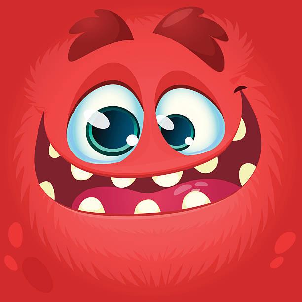 ilustrações, clipart, desenhos animados e ícones de cartoon monster face. vector halloween red monster avatar - monstro