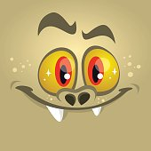 Cartoon monster face. Vector Halloween red monster avatar with wide smile.