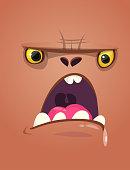 Cartoon monster face. Vector Halloween shocked monster square avatar