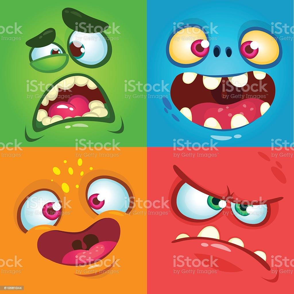 Cartoon monster faces set. Vector set Halloween monster faces vector art illustration