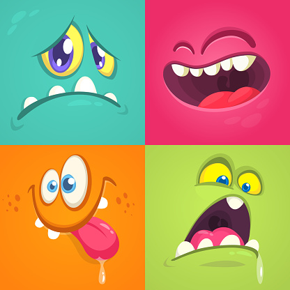 Cartoon monster faces set. Vector set of four Halloween monster faces with different expressions
