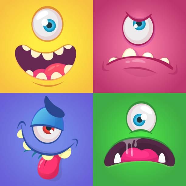 ilustraciones, imágenes clip art, dibujos animados e iconos de stock de conjunto enfrenta a monstruo de dibujos animados. vector conjunto de cuatro halloween monstruo caras - monstruo