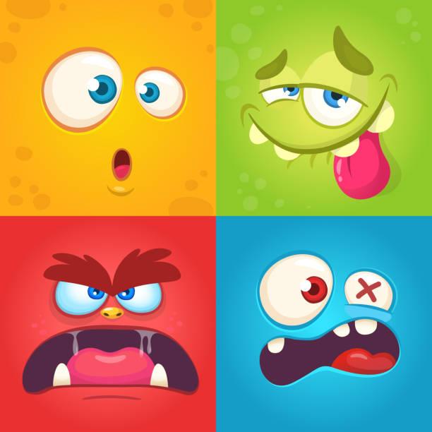 ilustraciones, imágenes clip art, dibujos animados e iconos de stock de conjunto enfrenta a monstruo de dibujos animados. vector conjunto de cuatro monster halloween caras con diferentes expresiones. los niños del libro ilustraciones o decoraciones para fiestas - monstruo