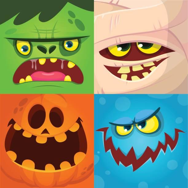 illustrations, cliparts, dessins animés et icônes de monstre cartoon faces set vector. icônes et avatars carrés mignons. visage citrouille, momie, zombie, monstre - monstres de bande dessinée