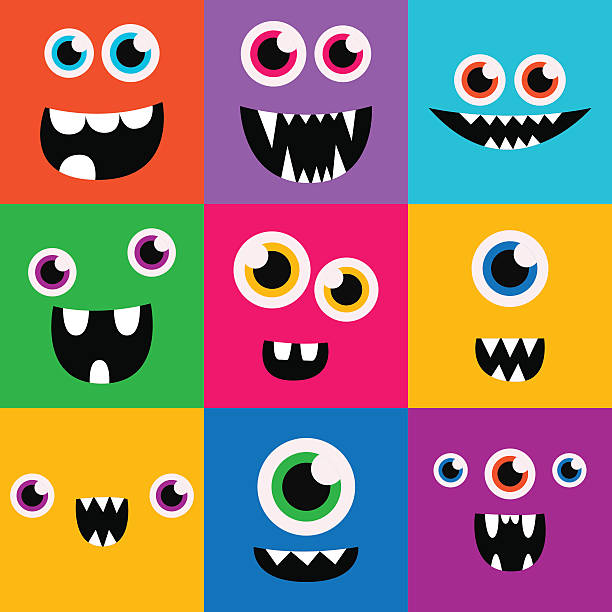 cartoon monster faces vector set. cute square avatars and icons - cartoon monsters stock illustrations, clip art, cartoons, & icons