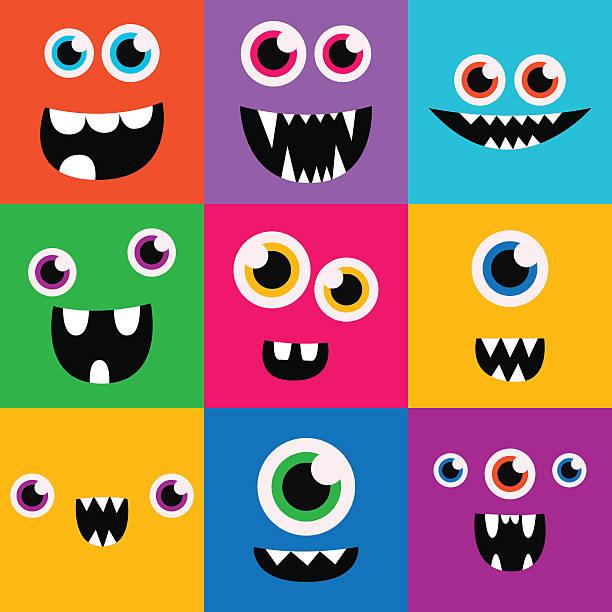 comic-monster gesichter vectorsatz. niedlich square-avatare und symbole - cartoon monster stock-grafiken, -clipart, -cartoons und -symbole
