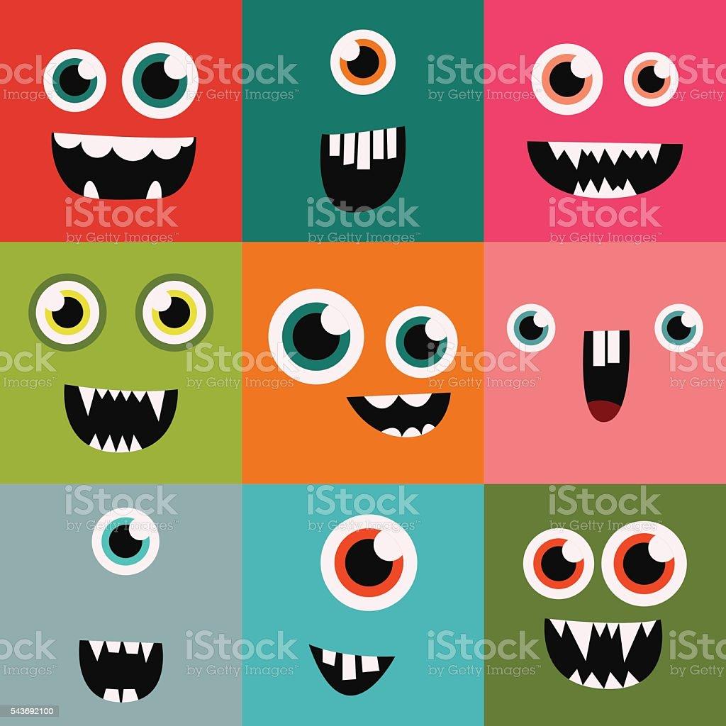 Dessin animé visages vecteur joli décor mètres et icônes avatars de - Illustration vectorielle