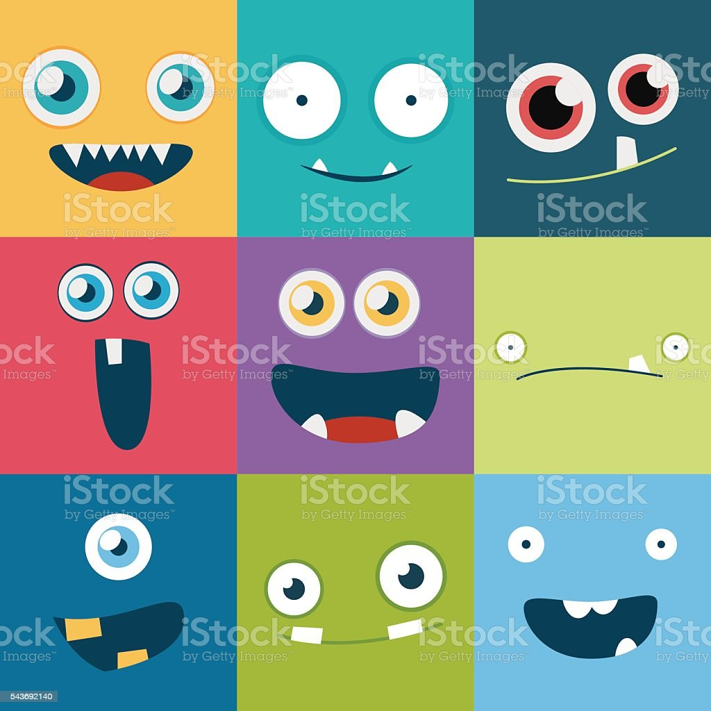 cartoon monster faces vector set. cute square avatars and icons