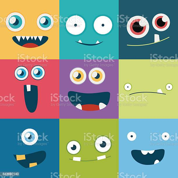 Cartoon monster faces vector set cute square avatars and icons vector id543692140?b=1&k=6&m=543692140&s=612x612&h=vbxlmz8ykyiyis1o8sqis cdwvvrfuu2t6thjtt7amm=