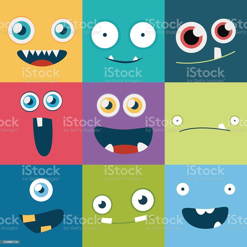 Comic-monster Gesichter Vectorsatz. Niedlich square-Avatare und Symbole – Vektorgrafik