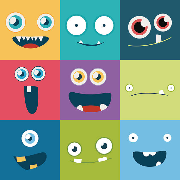 cartoon monster faces vector set. cute square avatars and icons - cartoon kids stock illustrations, clip art, cartoons, & icons