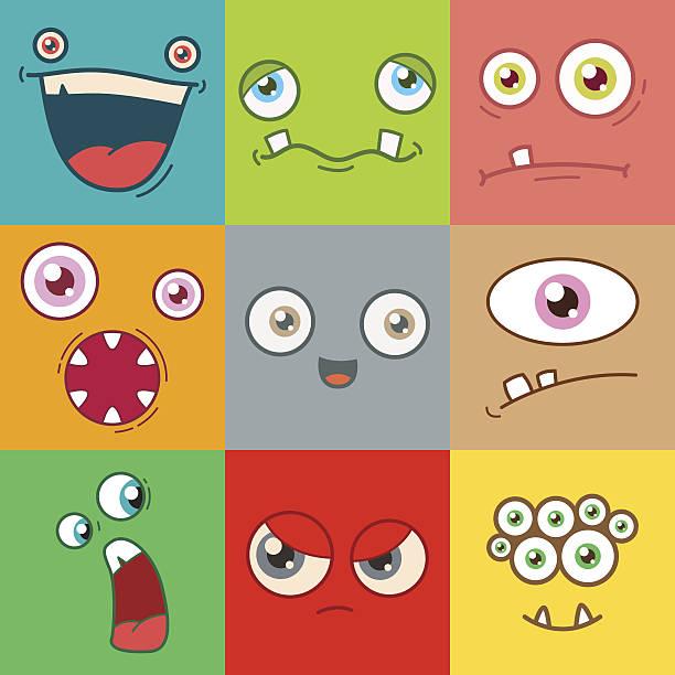 cartoon monster faces vector set - cartoon monster stock-grafiken, -clipart, -cartoons und -symbole