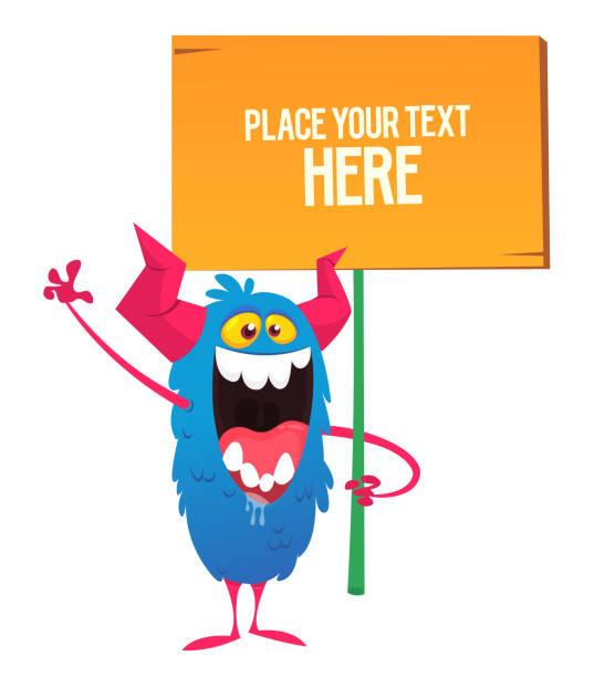 Cartoon-Monster hält Holzschild. – Vektorgrafik