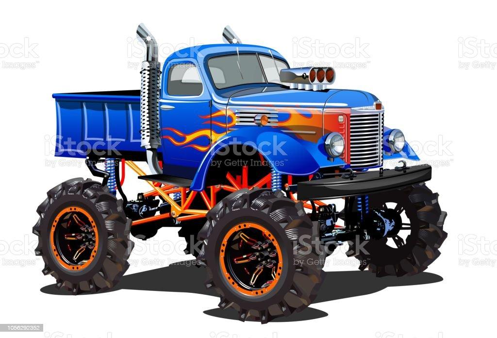 Dessin Animé Monster Truck Isolé Sur Fond Blanc Cliparts