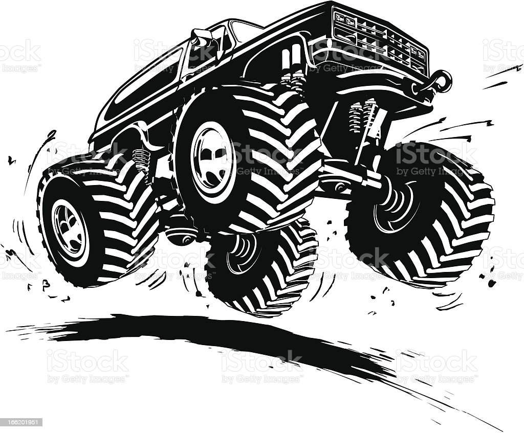 Cartoon Monster Truck vector art illustration