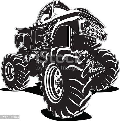 Monster Trucks For Sale >> Cartoon Monster Truck Stock Vector Art & More Images of 4x4 517108166 | iStock
