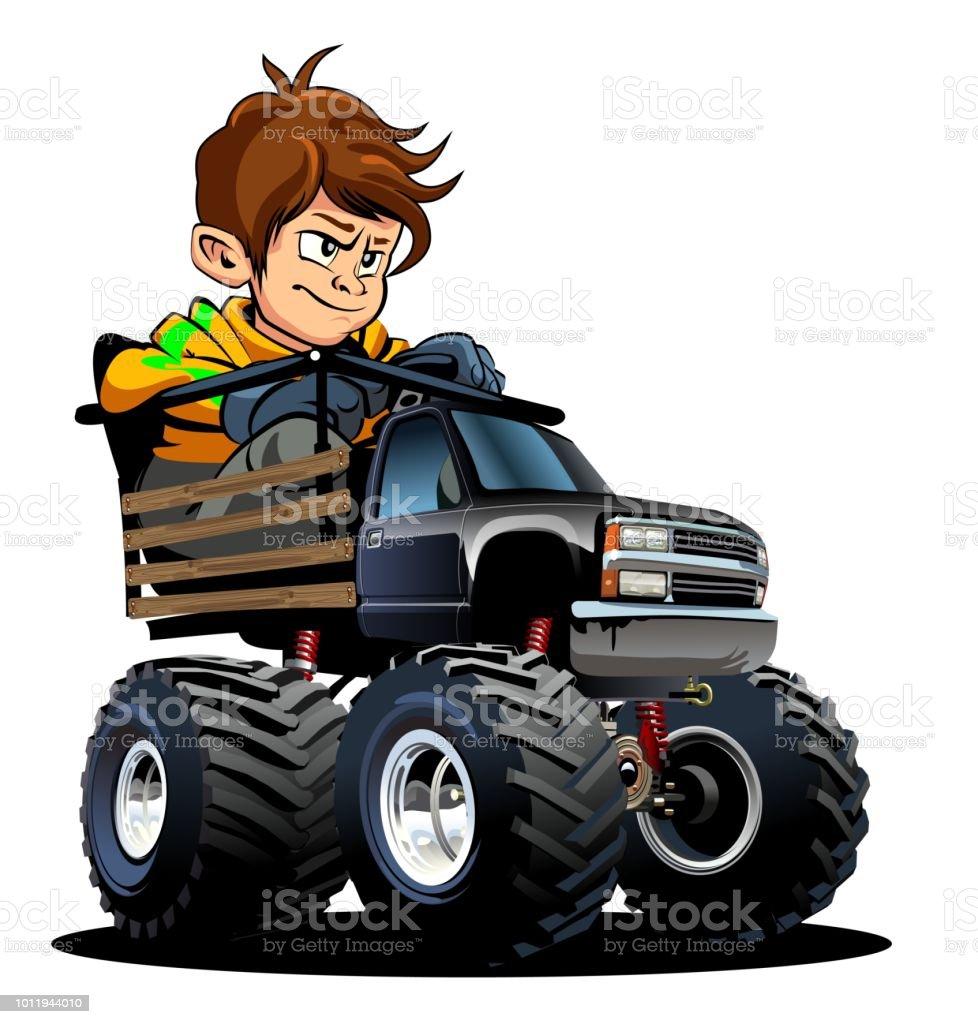Dessin Animé Monster Truck Avec Chauffeur Cliparts Vectoriels Et