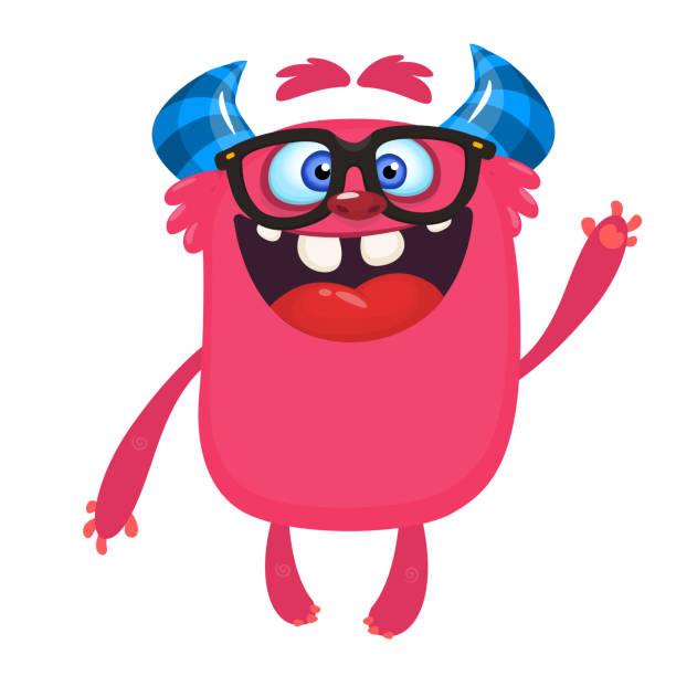 Cartoon Monster tragen Brillen. Vektor-Illustration für Halloween – Vektorgrafik