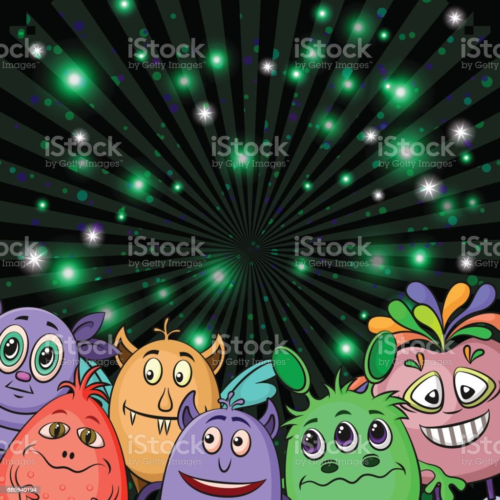 Cartoon Monsters Background cartoon monsters background - immagini vettoriali stock e altre immagini di a forma di stella royalty-free