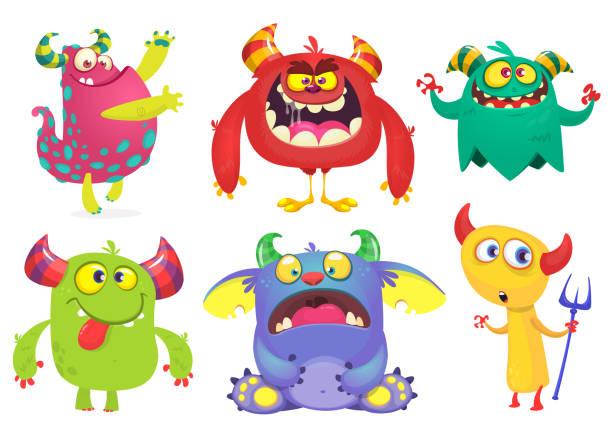 ilustraciones, imágenes clip art, dibujos animados e iconos de stock de colección de monstruos de la historieta. conjunto de vectores de monstruos de dibujos animados aislados. fantasma, troll, gremlin, duende, demonio y monstruo - monstruo