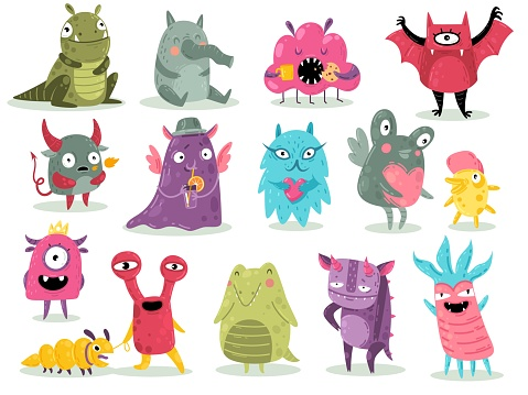 Cartoon monsters. Cute goblins, colorful alien characters, funny comic gremlins, little dragons and devil spooky creatures. Halloween scary toy mascots set vector flat isolated collection
