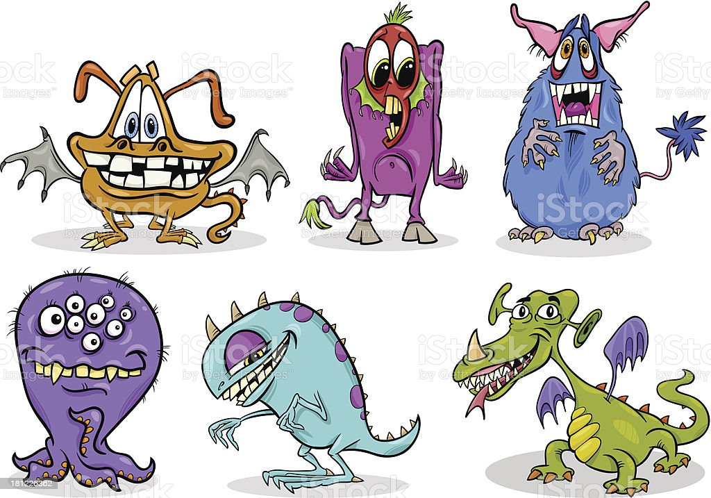 cartoon monsters illustration set royalty-free stock vector art