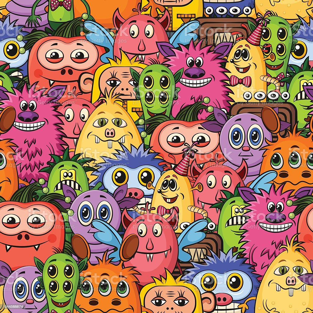 Cartoon Monsters Seamless vector art illustration