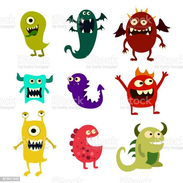 Cartoon monsters set colorful toy cute monster vector vector id623921642?b=1&k=6&m=623921642&s=612x612&h=qld6 ijmv23x8bj68aaqk6lompu4og w21m431hgmws=