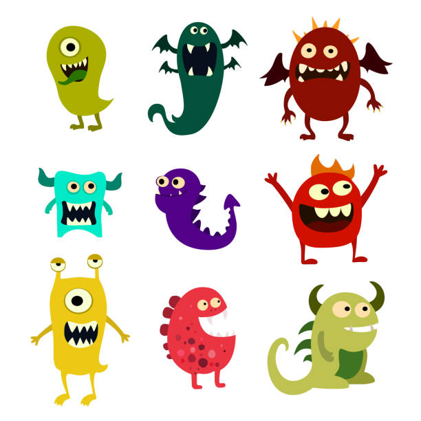 cartoon monsters set. colorful toy cute monster. vector - cartoon monsters stock illustrations, clip art, cartoons, & icons