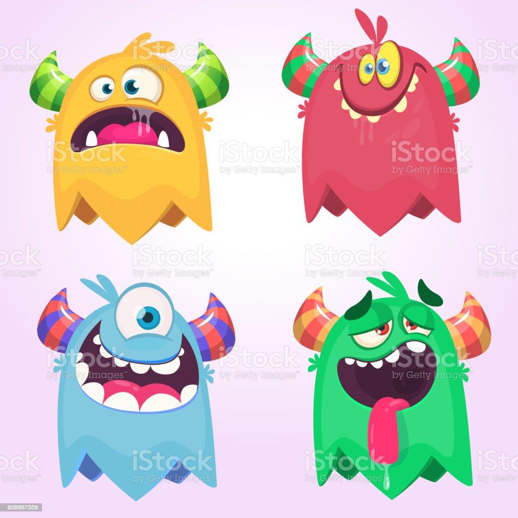 Monstros de desenhos animados para Halloween. Conjunto de vetores de monstros de desenhos animados isolado. Design para impressão, decoração de festa, t-shirt, ilustração, emblema ou adesivo - ilustração de arte em vetor