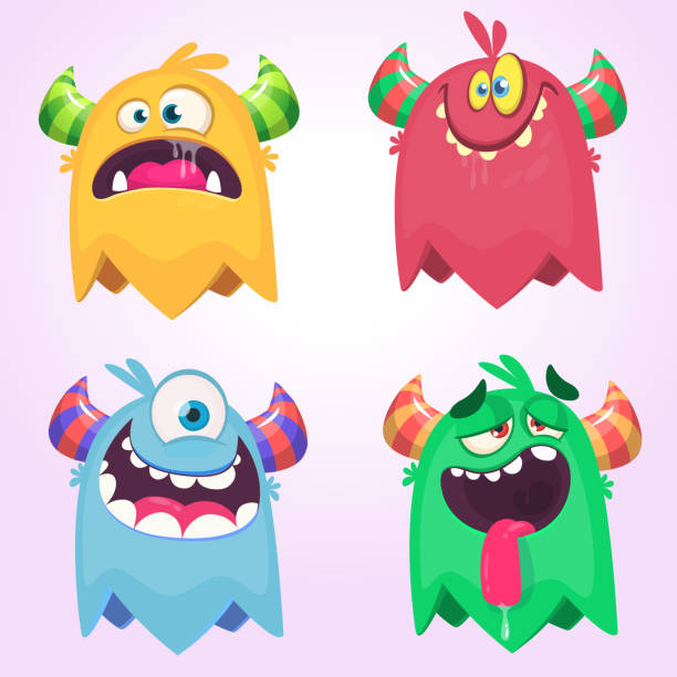 Cartoon Monsters set for Halloween. Vector set of cartoon monsters isolated. Design for print, party decoration, t-shirt, illustration, emblem or sticker vector art illustration