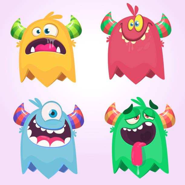 ilustraciones, imágenes clip art, dibujos animados e iconos de stock de dibujos animados monstruos para halloween. conjunto de vectores de monstruos de dibujos animados aislados. diseño para impresión, decoración del partido, camiseta, ilustración, emblema o etiqueta - monstruo