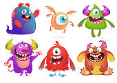 Cartoon illustrations of ghost Cyclops troll goblin and monster
