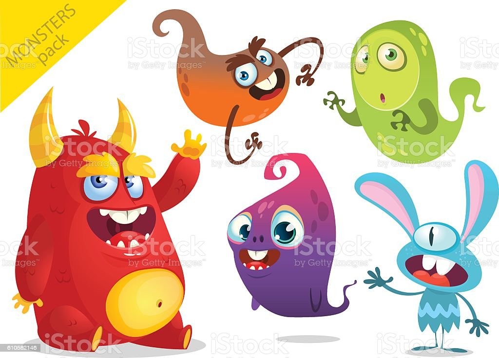 Cartoon Monsters. Vector set of cartoon monsters isolated vector art illustration