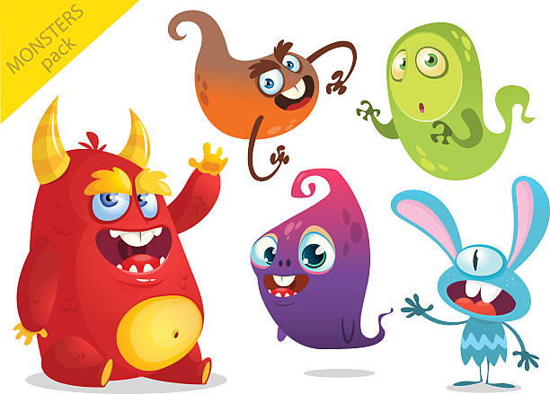 cartoon monsters. vector set of cartoon monsters isolated - cartoon monster stock-grafiken, -clipart, -cartoons und -symbole